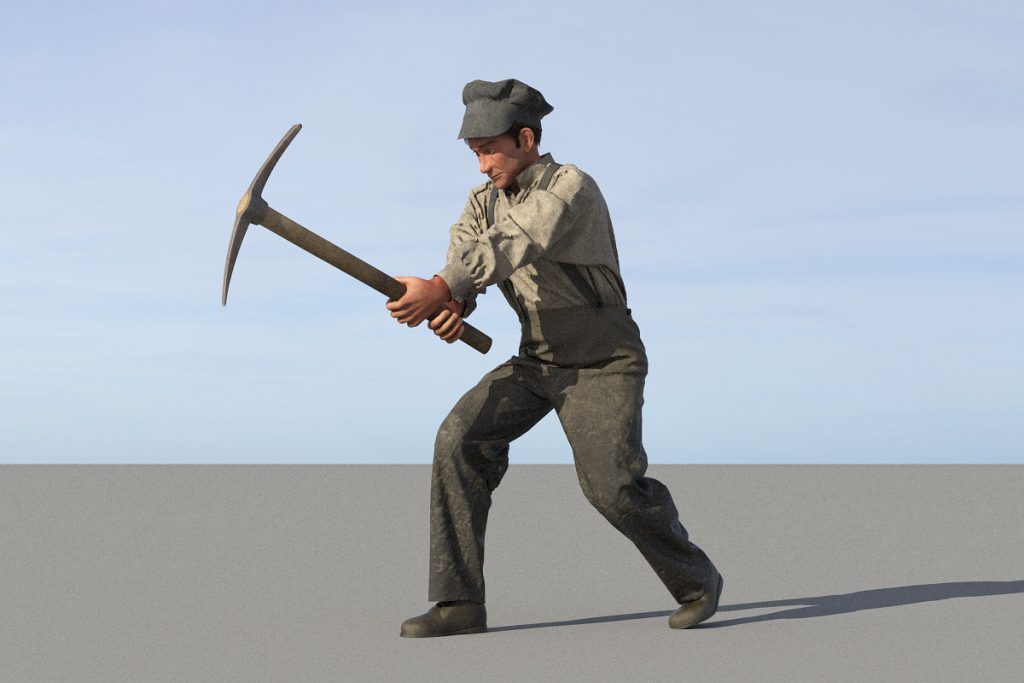 Worker with pickaxe
