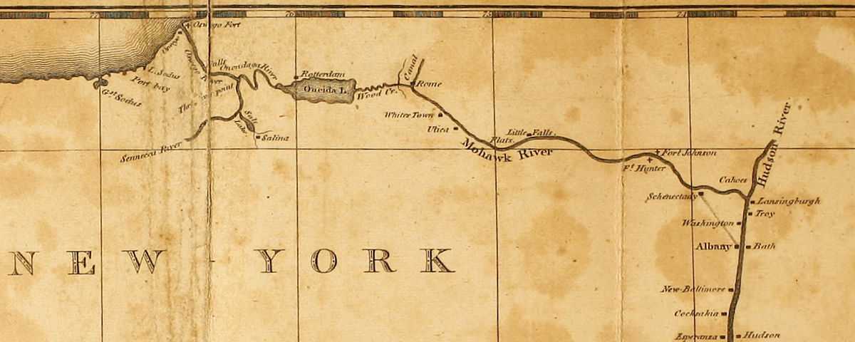 Map of the Hudson and Mohawk Rivers