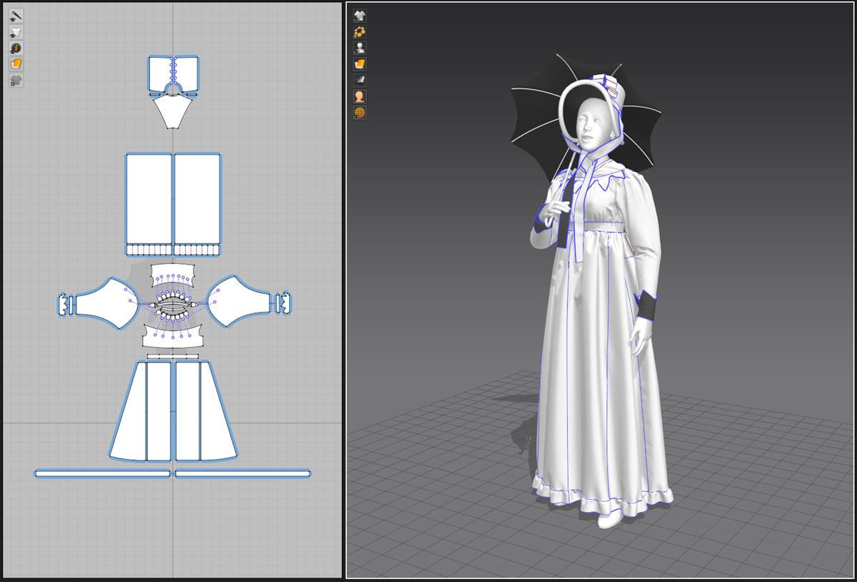Fashionable woman in Marvelous Designer
