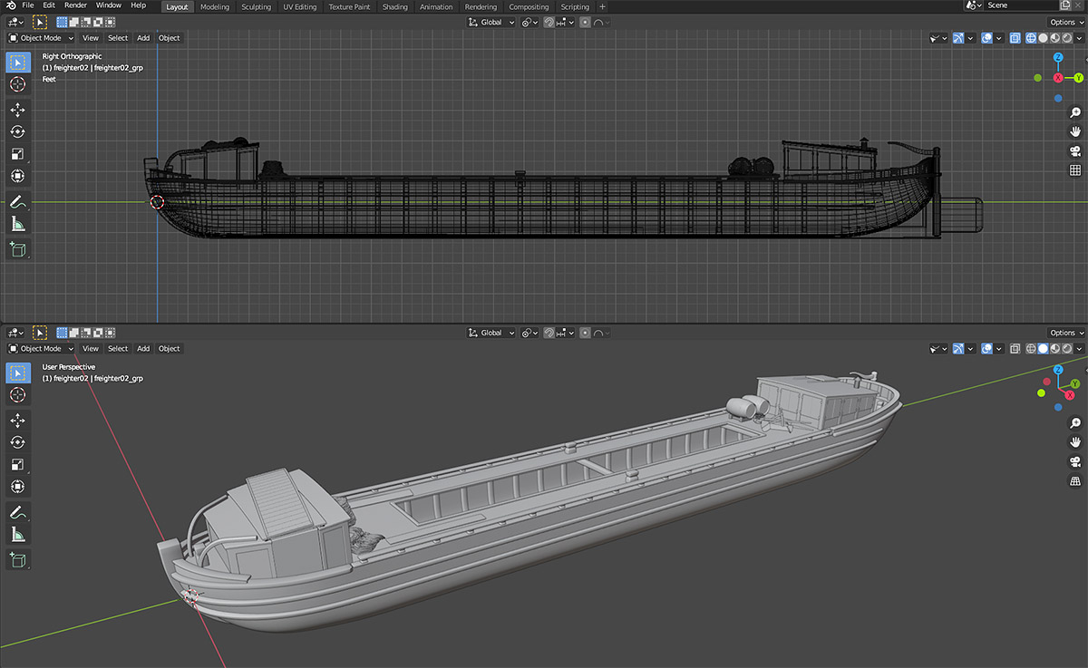 View of freighter model in Blender