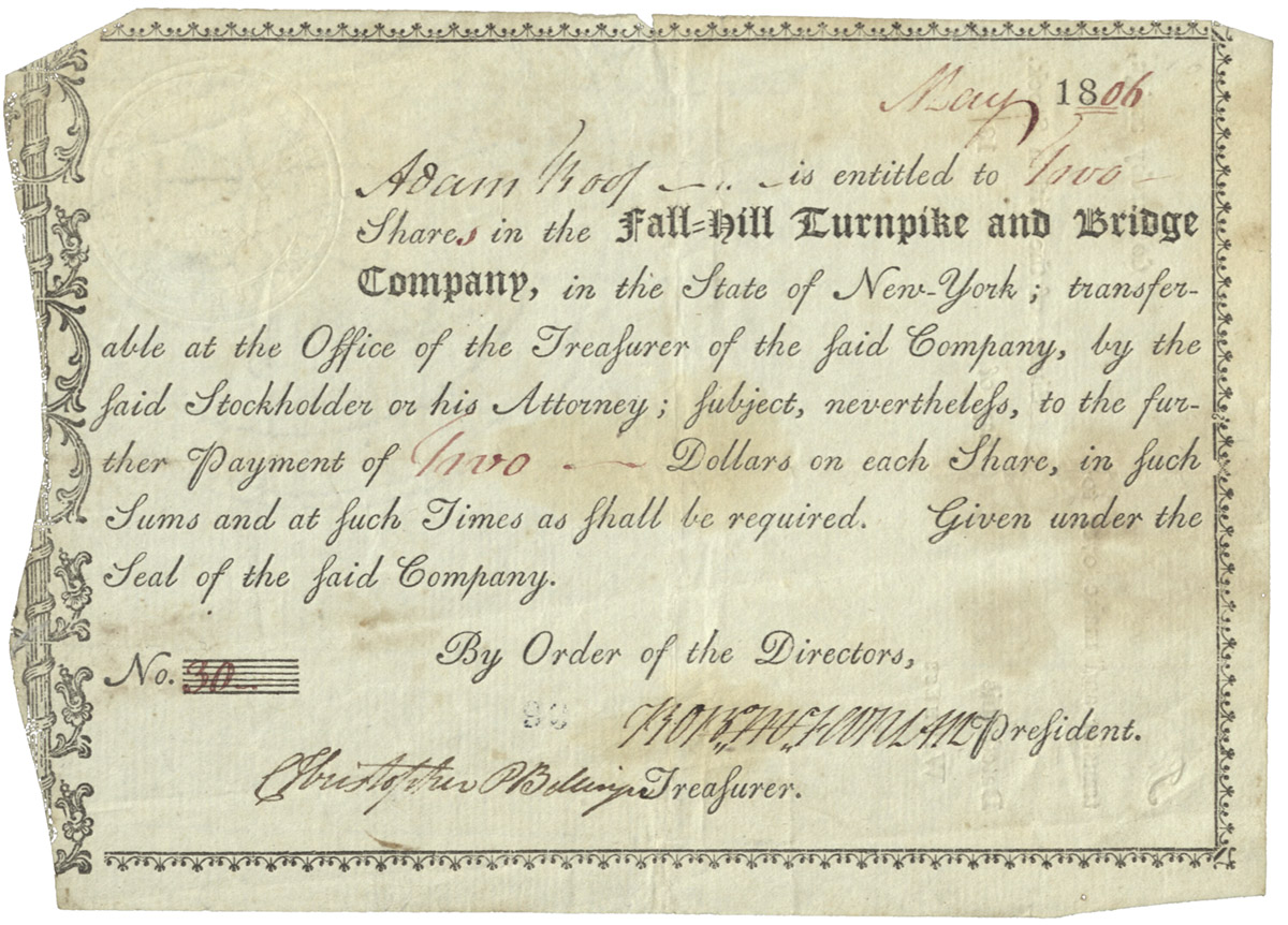 Fall-Hill stock certificate